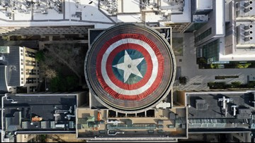 MIT students deck out dome with Captain America shield