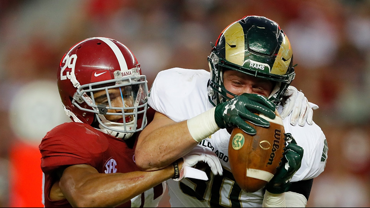 Minkah Fitzpatrick of the Alabama Crimson Tide defends against Colorado State at Bryant-Denny Stadium on September 16, 2017 in Tuscaloosa, Alabama. Photo by Kevin C. Cox/Getty Images.