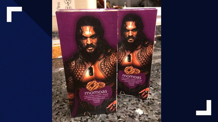 """Momoas"", an epic mash up of Jason Momoa and ""Samoas"" Girl Scout Cookies."