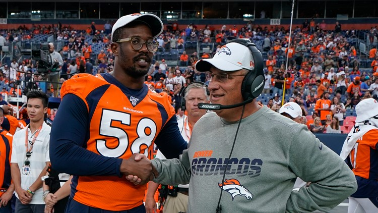 Cardinals Broncos Football Von Miller and Vic Fangio