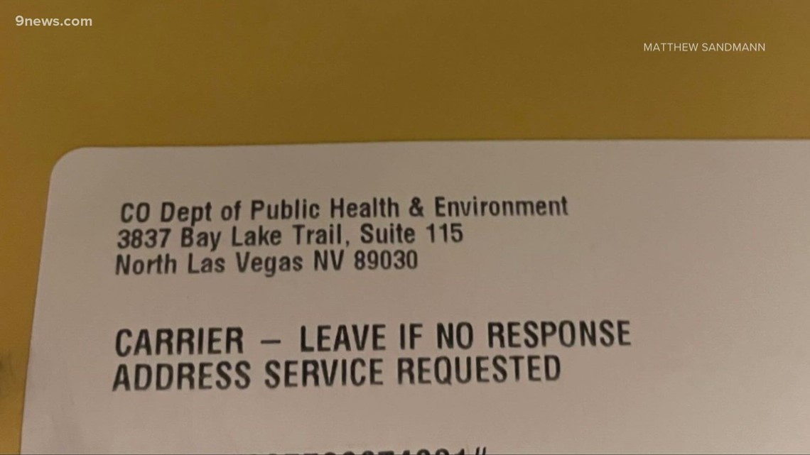 Next Question: Why is this CDPHE return address in Nevada?