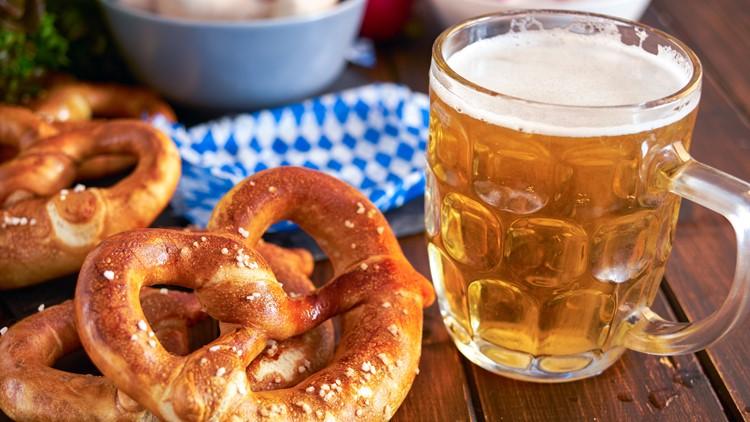 oktoberfest beer festival mugs generic german sausages pretzels