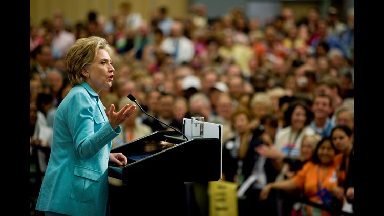 U.S. Sen. Hillary Clinton (D-NY) speaks during a meeting with her delegates during day three of the 2008 Democratic National Convention at the Pepsi Center August 27, 2008 in Denver, Colorado.