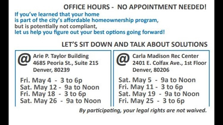 "A portion of Denver's flyer advertising its weekend ""office hours"" for homeowners caught in the middle of the city's affordable housing mess."
