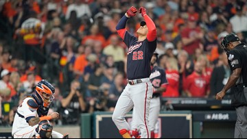 Soto homers, doubles and Nats win Game 1