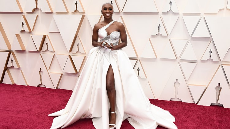 Cynthia Erivo arrives at the Oscars on Sunday, Feb. 9, 2020, at the Dolby Theatre in Los Angeles.