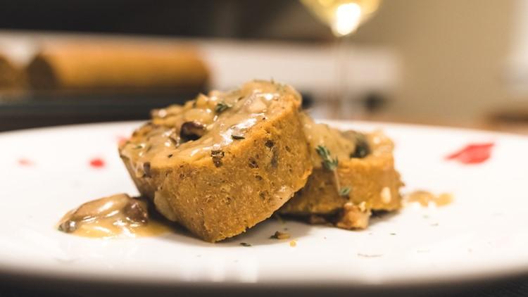 Vegan Thanksgiving roast with mushroom gravy