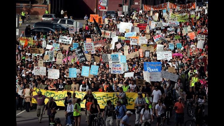 Activists and protesters march in an anti-war march lead by the Iraq Veterans Against War group from the Denver Coliseum to the Pepsi Center during the 2008 Democratic National Convention on August 27, 2008 in Denver, Colorado.