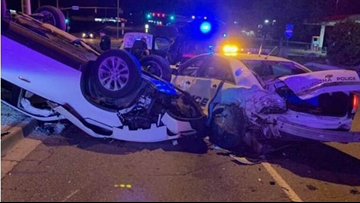 Driver arrested on suspicion of DUI after crashing into police car