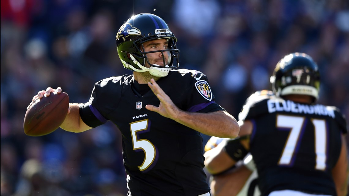 5c296a5af78 Baltimore Ravens quarterback Joe Flacco (5) throws to a receiver in the  first half of an NFL football game against the Pittsburgh Steelers, Sunday,  Nov.