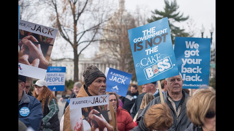People rally for Jack Phillips, owner of Masterpiece Cake in Colorado, outside the US Supreme Court before Masterpiece Cakeshop vs. Colorado Civil Rights Commission is heard on December 5, 2017 in Washington, DC.