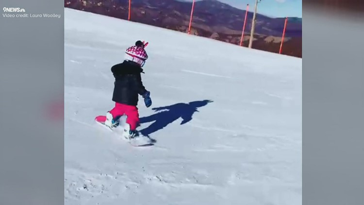 Colorado toddler's first-day snowboarding