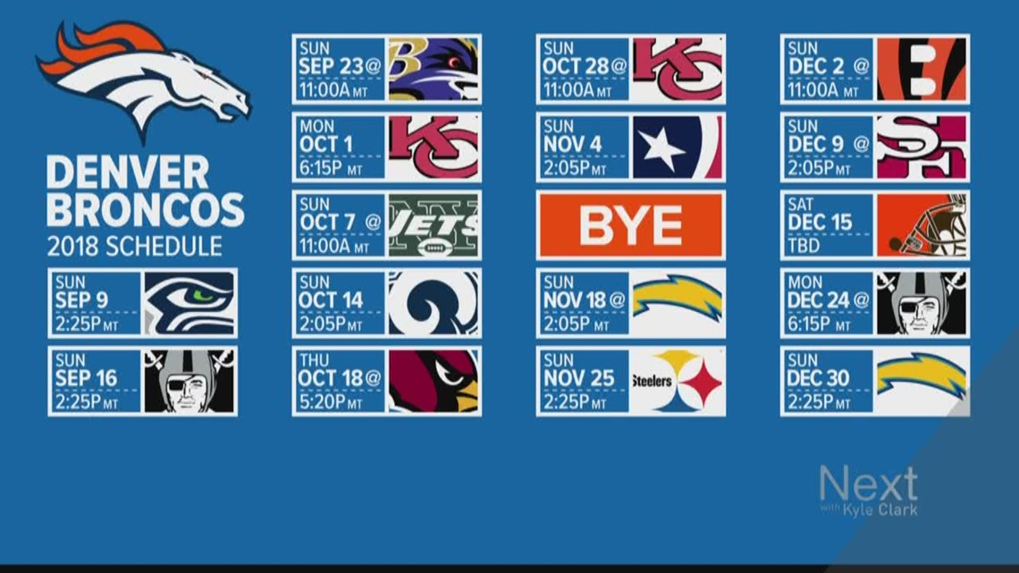 This is a photo of Divine Denver Broncos Schedule Printable