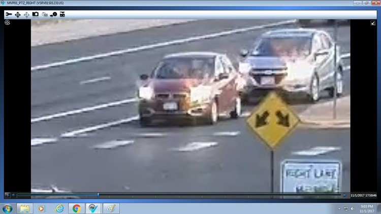 The suspect's Mitsubishi Mirage, photo provided by the Thornton Police Department.