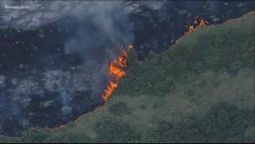RAW SKY9: Video of Deer Creek Park fire in Jefferson County