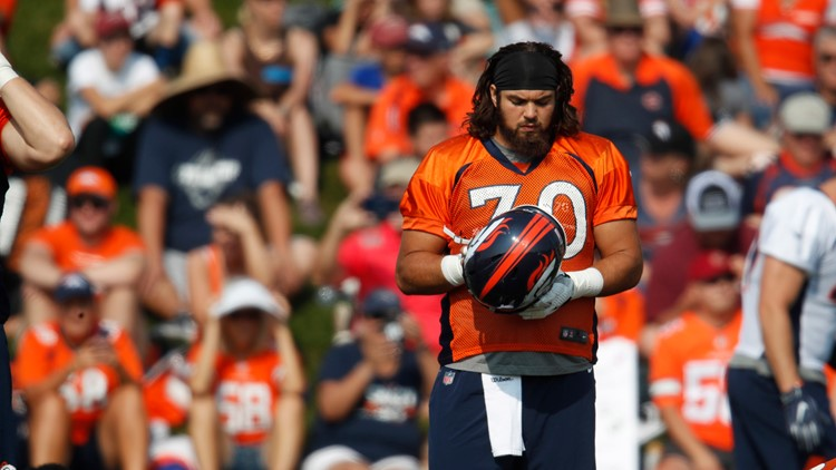 Denver Broncos offensive guard Sam Jones