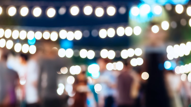 summer music concert festival Festival Event Party outdoor with People Blurred Background