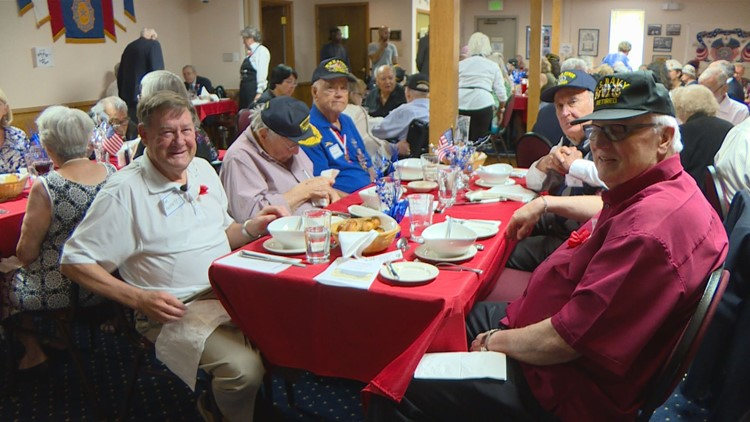 Tom Puckett, 72, was the youngest person at his table at the American Legion Post No. 1 in southeast Denver. He brought nine World War II veterans who live in the Windcrest Retirement Community with him.