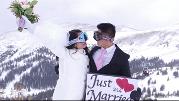 Loveland Ski Area hosted a mass wedding at 12,000 feet on Valentine's Day