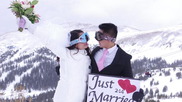 Loveland Ski Area hosted a mass wedding at 12,000 feet on Valentine's Day