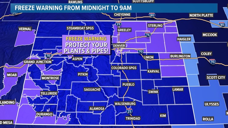Freeze Warning in Denver; wintry mix possible overnight