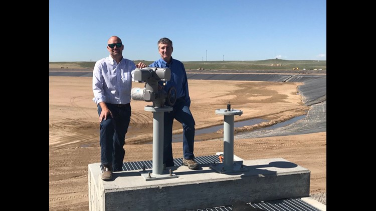 Drew Damiano and Ron vonLembke getting ready for the grand opening of the 70 Ranch Reservoir in Weld County.