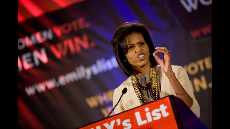 Michelle Obama speaks at an EMILY's List gala during day two of the Democratic National Convention (DNC) at the Sheraton Denver Hotel August 26, 2008 in Denver, Colorado.