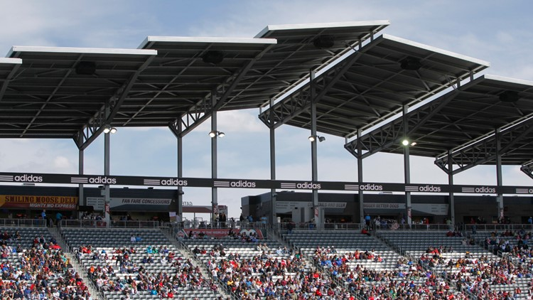 Dick's Sporting Goods Park is shown while the Chicago Fire face the Colorado Rapids in the first half of an MLS soccer game