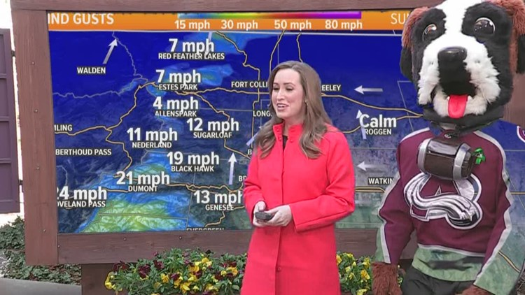 Bernie does the weather with 9NEWS meteorologist Kylie Bearse