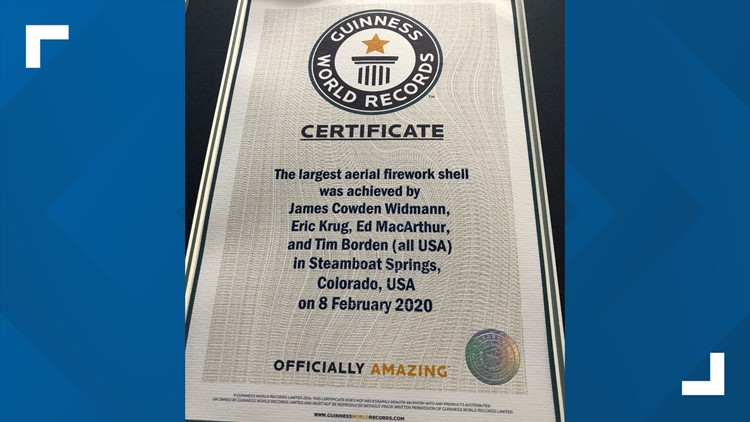 Steamboat world record certificate