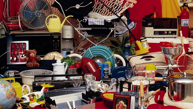 Cluttered household items garage sale vintage