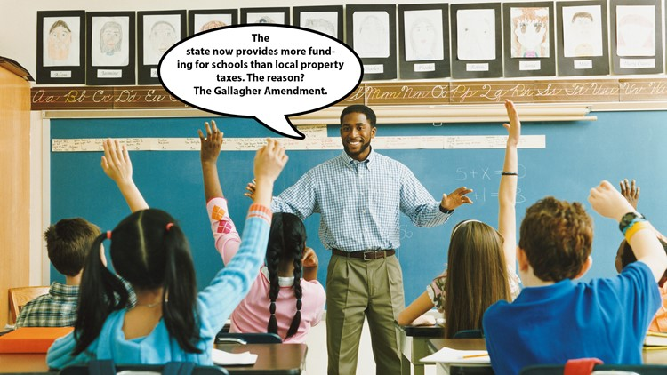 A stock photo of a teacher explaining the Gallagher Amendment.