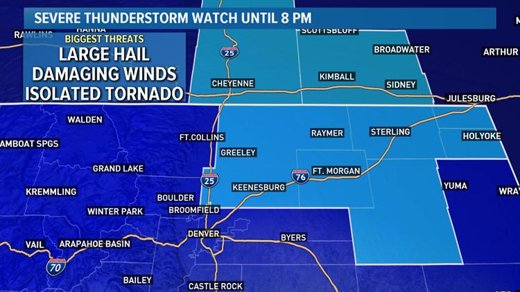 Severe Thunderstorm Watch in NE Colorado