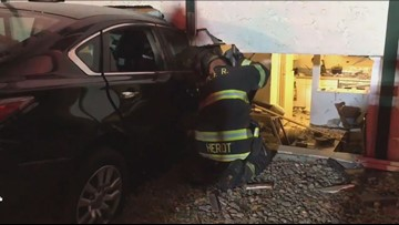 Resident describes car crashing into her building