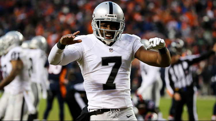Marquette King celebrates after the Raiders recovered a fumble on a punt return attempt by the Denver Broncos on December 13, 2015.