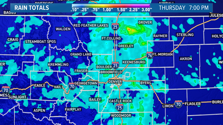 Rain totals in Colorado from Thursday's storm