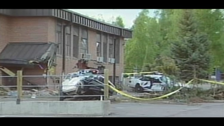 A look at the wreckage caused when 52-year-old Marvin Heemeyer drove an armored bulldozer through the town of Granby, Colorado on June 4, 2004.