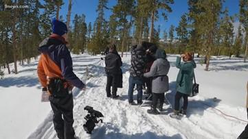 Film crew shooting snowmobile thriller in Colorado