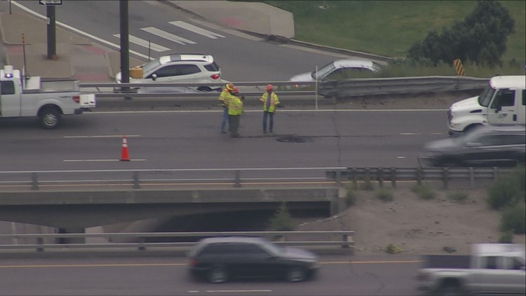 CDOT evaluating possible repairs due to hole on I-70 near Kipling