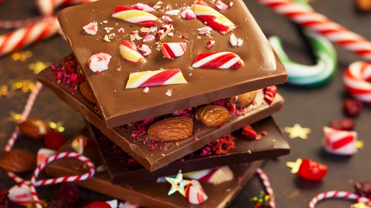Christmas chocolate bark with peppermint,dried berries and nuts Christmas chocolate festival