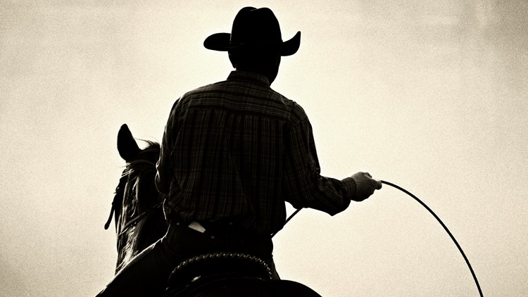 cowboy at the rodeo - shot backlit against tons of dust, converted with added grain