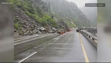 Rockslide impacts travel on I-70 through Glenwood Canyon