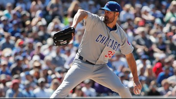Hamels throws 7 scoreless, 4 batters hit as Cubs top Rockies