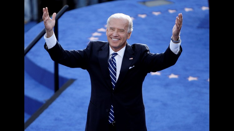 Democratic U.S. Vice Presidential nominee Joe Biden (D-DE) reacts to the crowd on day four of the Democratic National Convention (DNC) at Invesco Field at Mile High August 28, 2008 in Denver, Colorado.