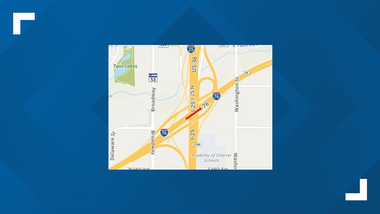 24 hour lane closure on eastbound I-76 at the I-25 interchange August 16-17