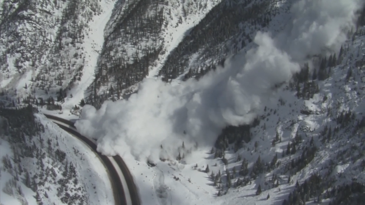 Controlled avalanche in the Big Sam Chute crossing I-70. Ten Mile Canyon - March 2019