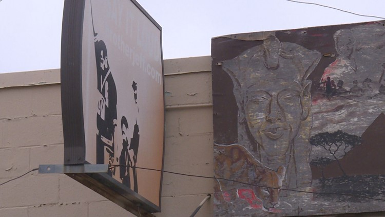 Art outside Brother Jeff's Cultural Center in Five Points.