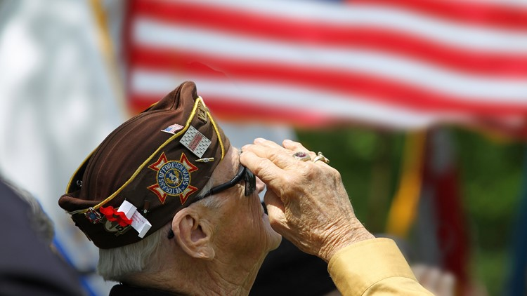 Veteran Salutes the US Flag memorial day