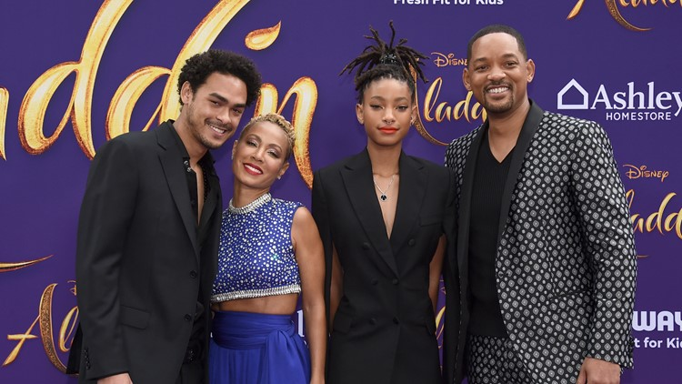 "Trey Smith, from left, Jada Pinkett Smith, Willow Smith and Will Smith arrive at the premiere of ""Aladdin"""