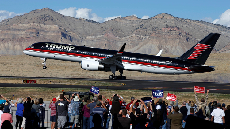The plane of presidential candidate Donald Trump lands on October 18, 2016 in Grand Junction Colorado.